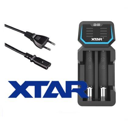 Xtar D2 Zwei-Schacht Ladegerät für Lithium Ionen Akkus mit integriertem Netzteil